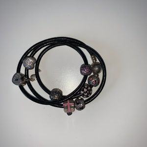 Pandora Leather Bracelet with Charms